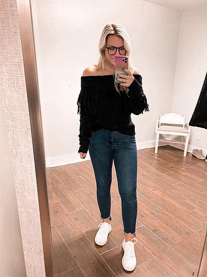 Off the Shoulder Black Sweater