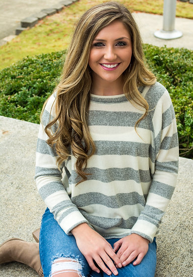 Ivory/Gray Striped Top