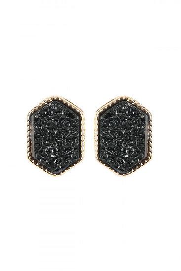 Black Hexagon Post Earrings
