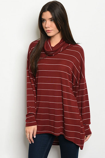 Stripe Cowl Neck Top
