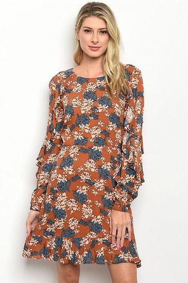 Rust Floral Dress
