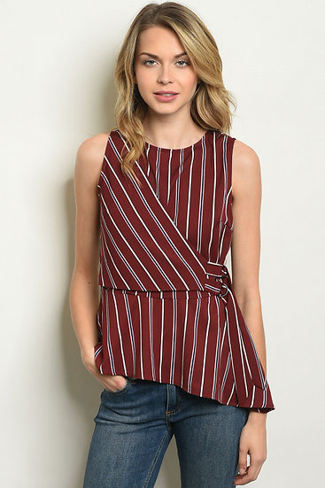 Burgundy Stripes Top