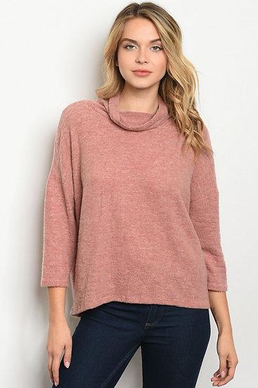 Blush Cowl Neck Sweater