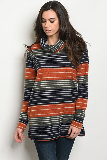 Navy/Rust Stripe Sweater