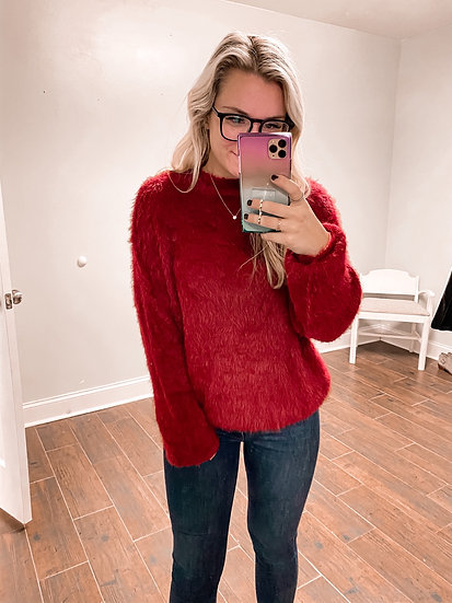 Fuzzy Red Sweater