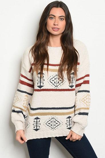 Ivory Print Sweater