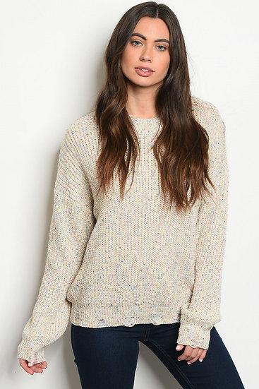 Oatmeal Distressed Confetti Sweater