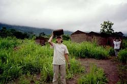 Building mud homes in Ghana