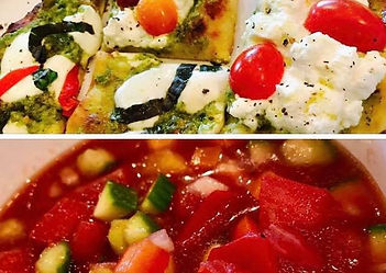 Gazpacho Soup and Pesto Mozzarella Flatb