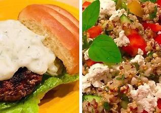 Greek Gyro Burger with Quinoa Salad.jpg