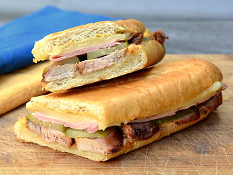 Close up of Grilled Cuban Sandwich also