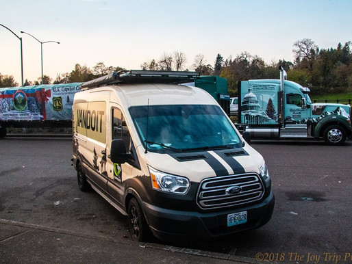 VanDOit Ford Transit travels the Oregon Trail as part of the U.S. Capitol Christmas Tree Tour