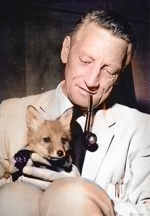 G Fisher the Hut-Man with Toddy the fox cub