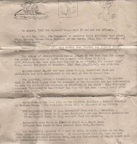 Maritime Royal Artillery Letter
