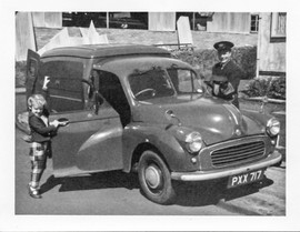 Postman John Boyd and a young Anne Fleming heading for the driver's seat. [Kildale Road]  Photo by Bob Fleming and by courtesy of  Anne Fleming.