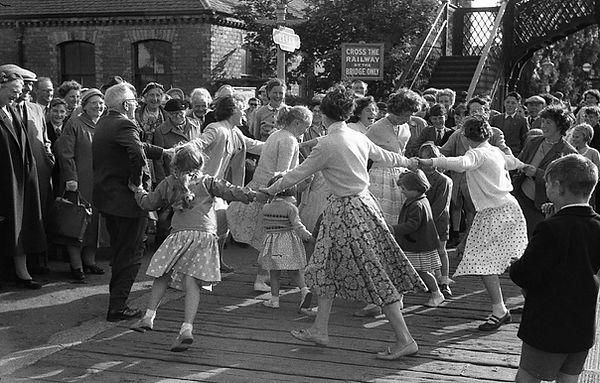OAP Trip dancing at Leven station