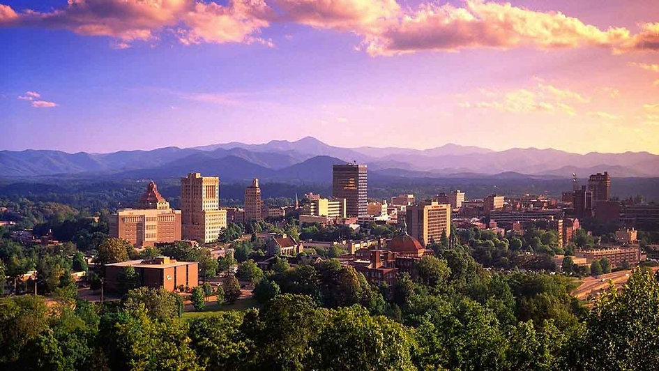 Overlooking Downtown Asheville at Sunset