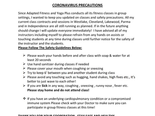 PLEASE READ MY STATEMENT ABOUT THE CORONAVIRUS AND CLASS PRECAUTIONS!