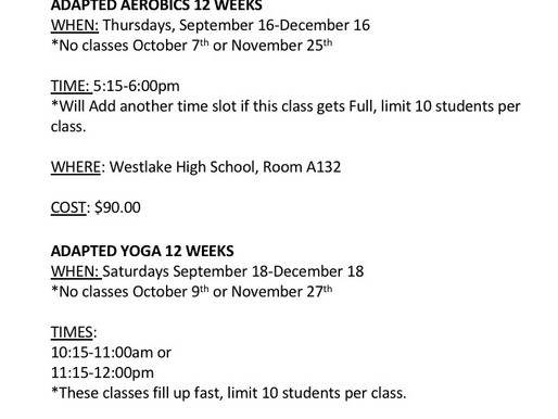 FALL INTO FITNESS SCHEDULE