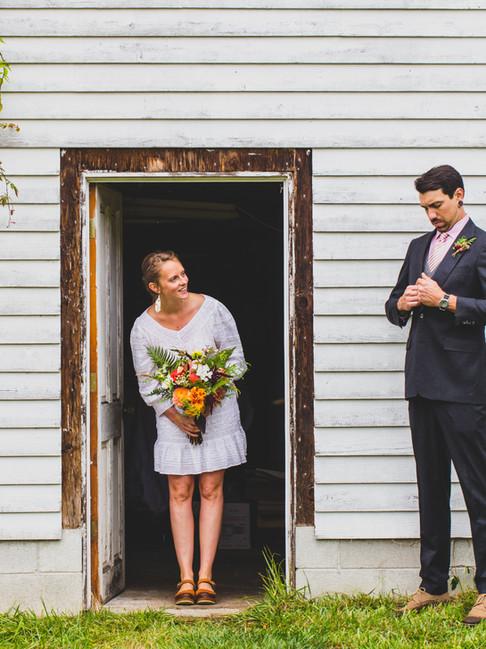 Bride and groom portrait on an Orcas Island farm.