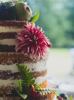 Delicious wedding cake with flowers and ferns on beautiful Orcas Island.