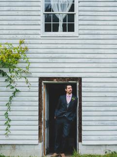 Groom portrait at an old farm house on Orcas Island.