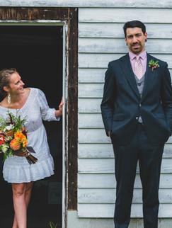 Bride peeking at groom.
