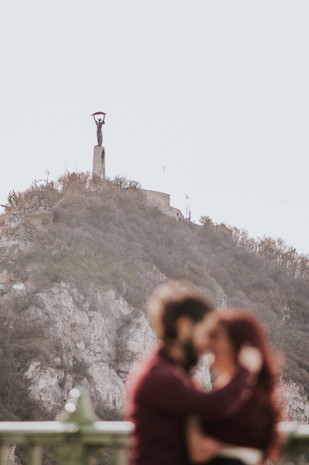 Nera and Mamed romantic and surprise proposal photoshoot at Liberty Bridge and Fisherman's Bastion