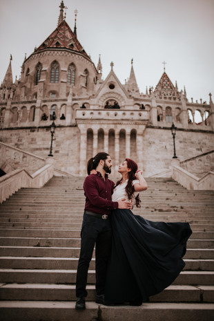 Romantic Elopement at Fisherman's Bastion with Parliament view in Budapest, Hungary by Ihsan Unuvar, Budapest Wedding and Travel & Lifestyle Photographer
