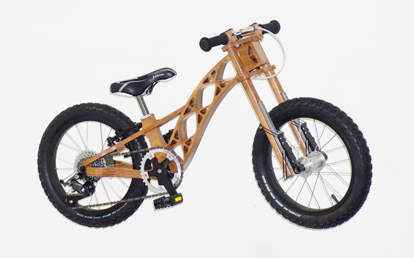 Wooden bike side view