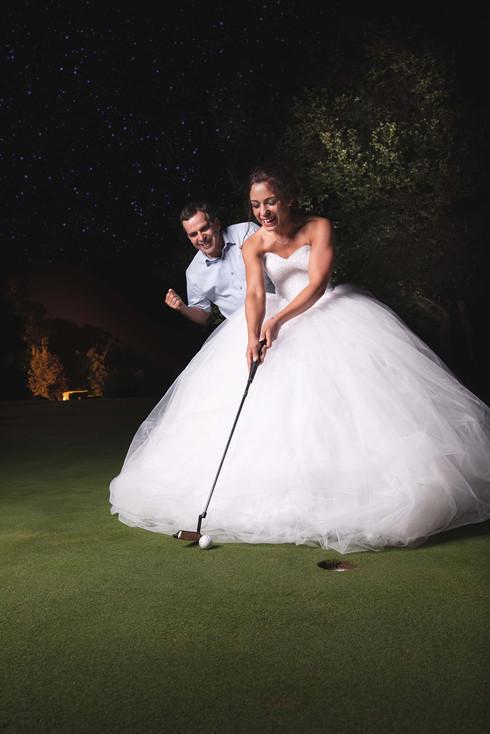 La mariée golfe sous les étoiles