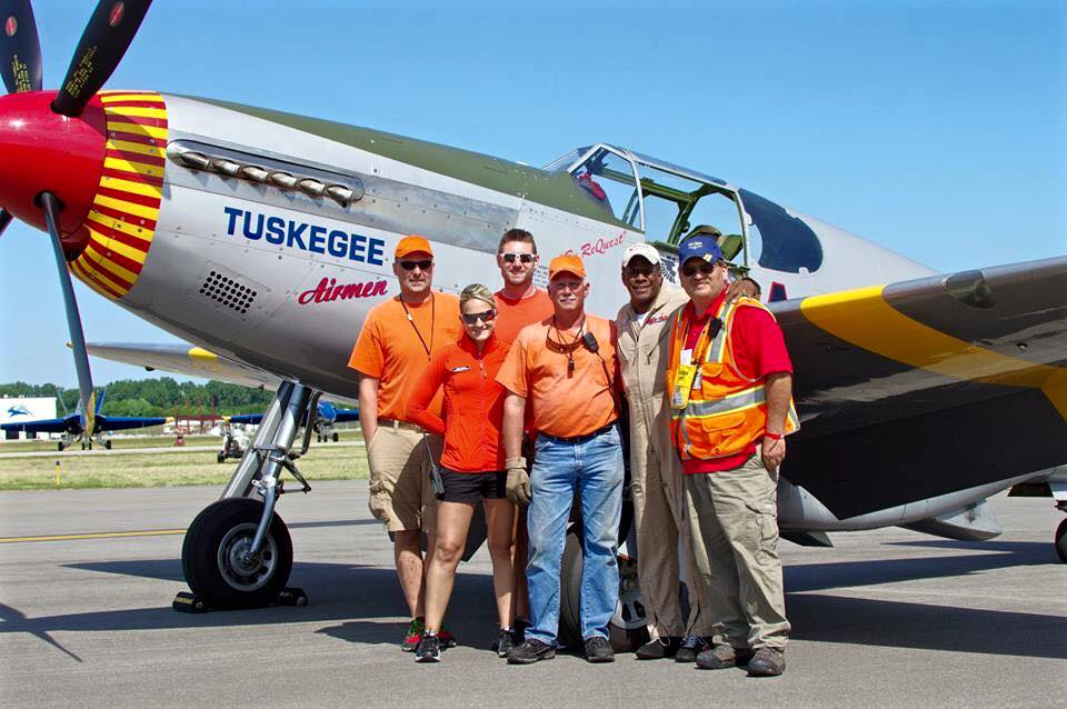 Ramp Crew and P-51 Red Tails