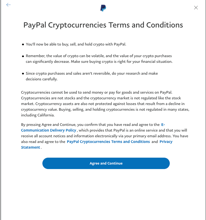 Paypal's Terms and Conditions