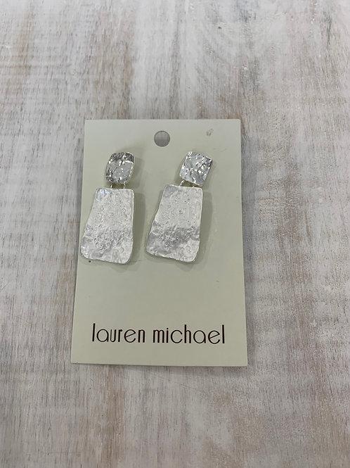 Lauren Michael Silver Rectangle Abstract Earrings