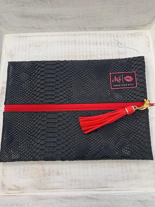 Makeup Junkie Bags Black Cobra Red Zipper Medium