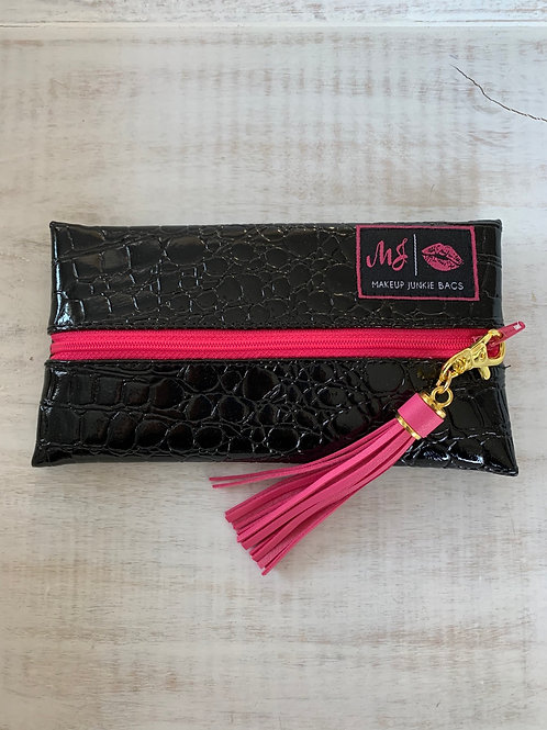 Makeup Junkie Bags Midnight Gator Pink Zipper Mini