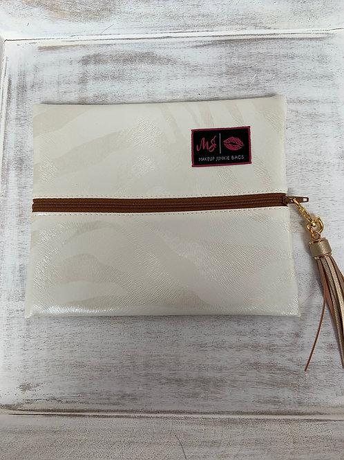 Makeup Junkie Bags Safari Pearl Cognac Zipper Small