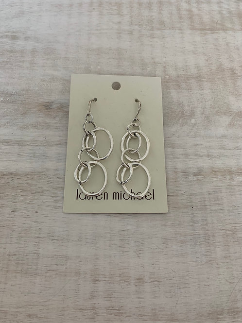 Lauren Michael Silver Open Circle Abstract Earrings
