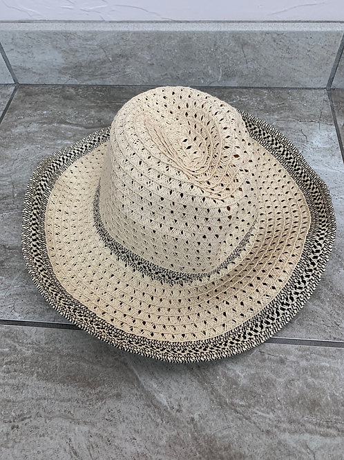 Kathy Jolly Straw Sun Hat Black Detailed Rim