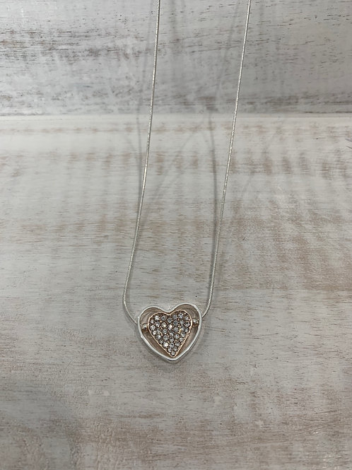 Lauren Michael Silver and Rose Gold Rhinestone Heart