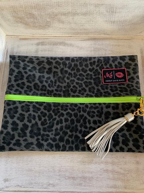 Makeup Junkie Bags Lime Leopard Medium