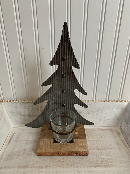 Mud Pie Medium Tin Tree Votive Holder