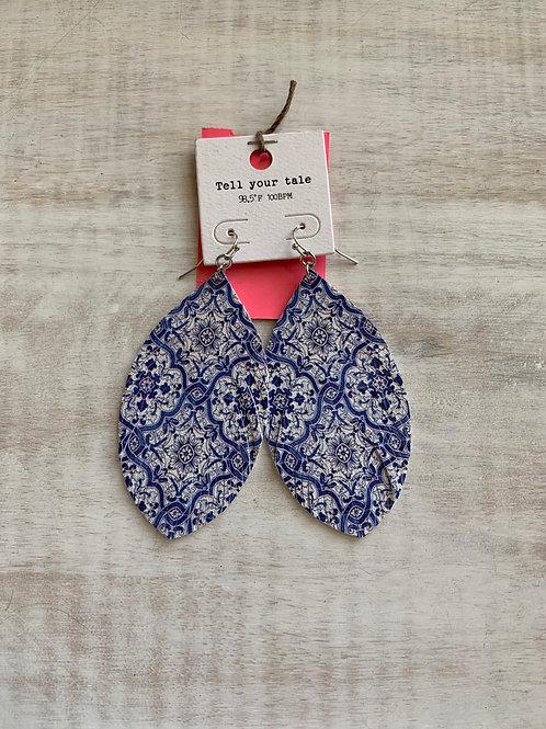 Blue Design Dangle Earrings