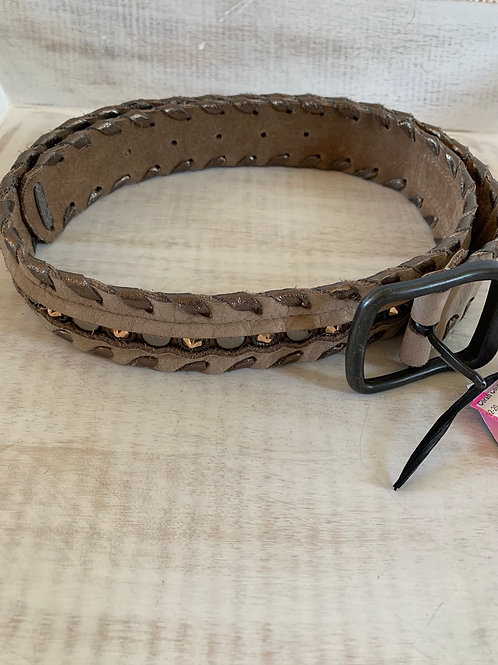 Leatherrock Tan Suede Whipstitch Lacing Belt with Rhinestones