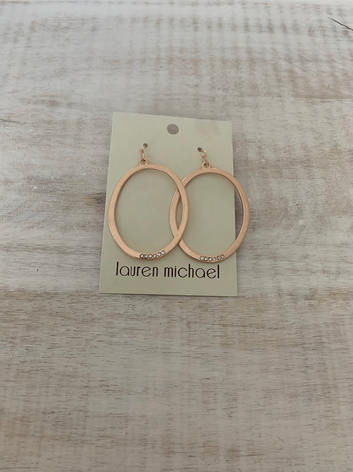 Lauren Michael Rose Gold Hoop Earrings with Gem