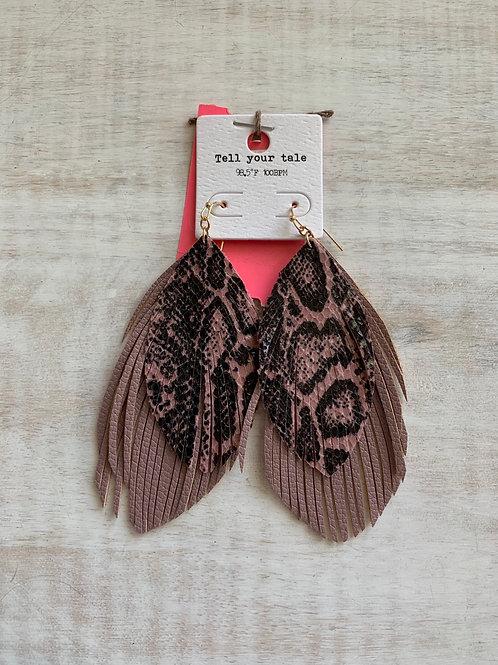 Pink Snakeskin Feather Earrings