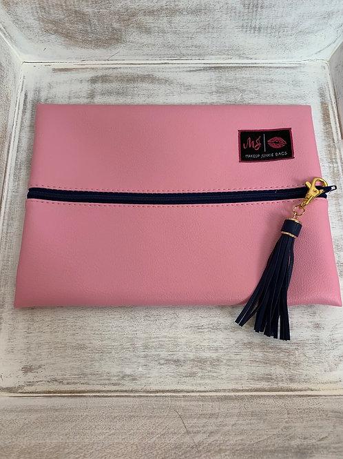 Makeup Junkie Bags Baby Pink Navy Zipper Medium