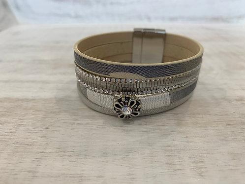 Lauren Michael Silver and Beige Stack Bracelet
