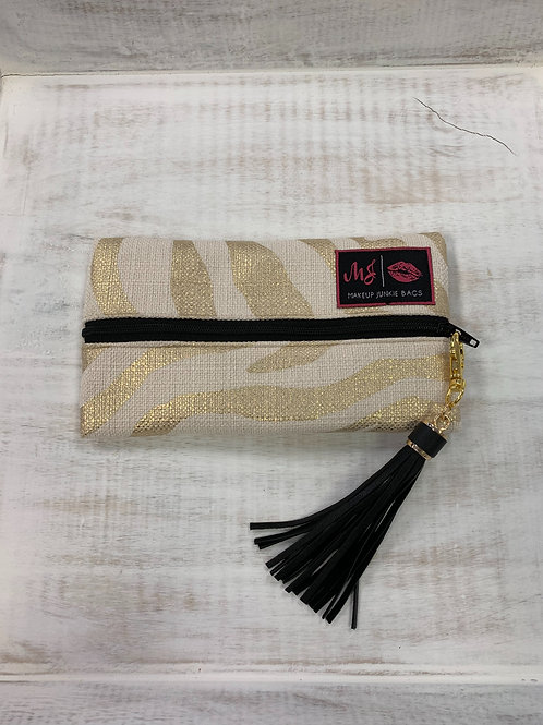 Makeup Junkie Bags Gold Zebra Mini