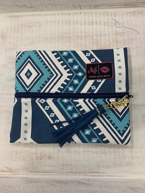 Makeup Junkie Bags Blue Aztec Small